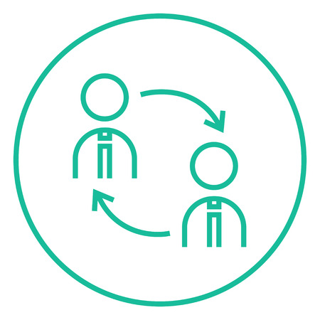 Staff turnover thick line icon with pointed corners and edges for web, mobile and infographics. Vector isolated icon.