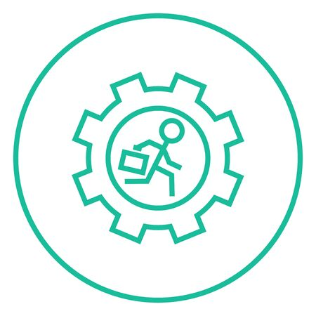 Man with briefcase running inside the gear thick line icon with pointed corners and edges for web, mobile and infographics. Vector isolated icon.