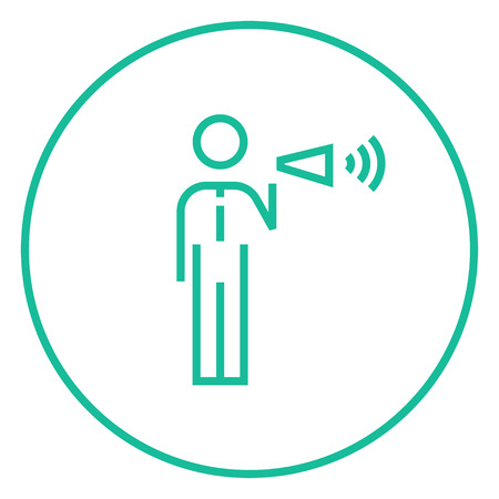 noisiness: Businessman with megaphone thick line icon with pointed corners and edges for web, mobile and infographics. Vector isolated icon. Illustration