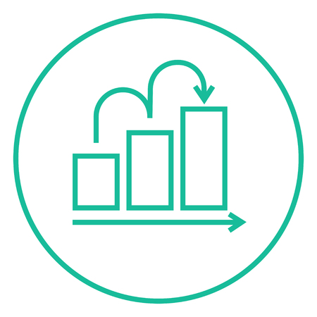 growth chart: Bar chart going upward thick line icon with pointed corners and edges for web, mobile and infographics. Vector isolated icon.