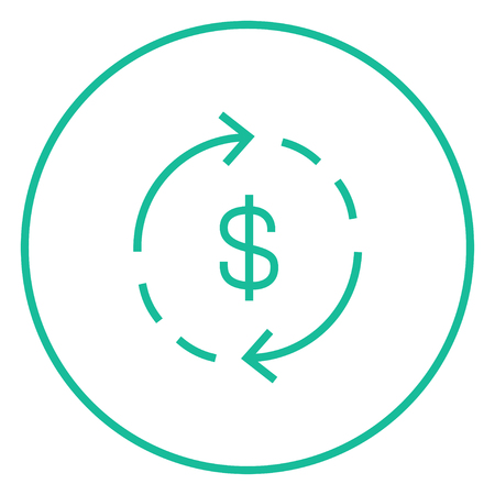 refresh rate: Dollar symbol with arrows around thick line icon with pointed corners and edges for web, mobile and infographics. Vector isolated icon.