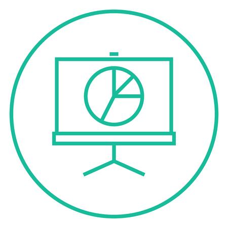 Roller scherm met de cirkeldiagram dikke lijn icoon met puntige hoeken en randen voor het web, mobiel en infographics. Vector geïsoleerde pictogram.