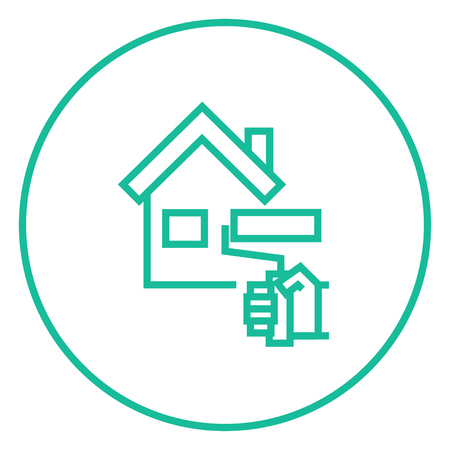 house painter: House with roller for painting thick line icon with pointed corners and edges for web, mobile and infographics. Vector isolated icon.