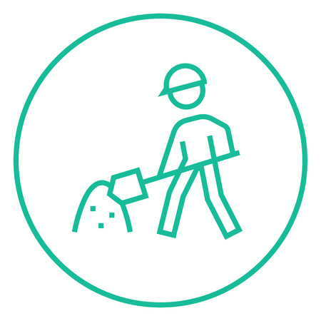 Man with shovel and hill of sand thick line icon with pointed corners and edges for web, mobile and infographics. Vector isolated icon.