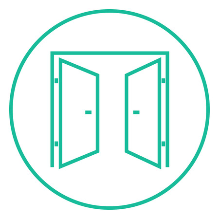 double entry: Open doors thick line icon with pointed corners and edges for web, mobile and infographics. Vector isolated icon. Illustration
