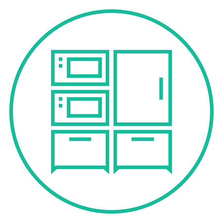 Household appliances thick line icon with pointed corners and edges for web, mobile and infographics. Vector isolated icon.