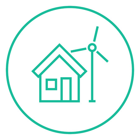 House with windmill thick line icon with pointed corners and edges for web, mobile and infographics. Vector isolated icon.