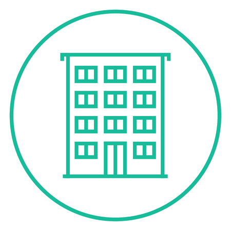 Residential building thick line icon with pointed corners and edges for web, mobile and infographics. Vector isolated icon. Illustration