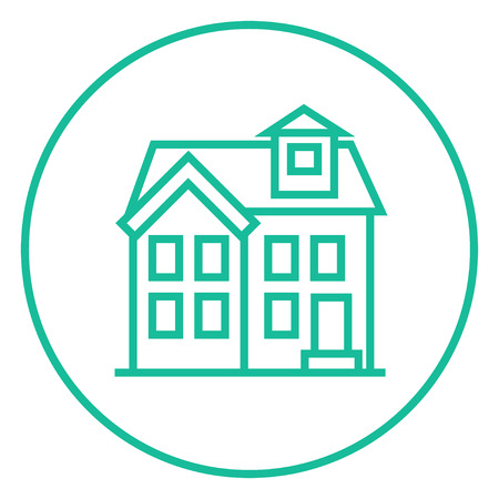storey: Two storey detached house thick line icon with pointed corners and edges for web, mobile and infographics. Vector isolated icon.