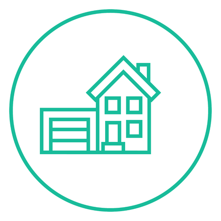 housing project: House with garage thick line icon with pointed corners and edges for web, mobile and infographics. Vector isolated icon. Illustration