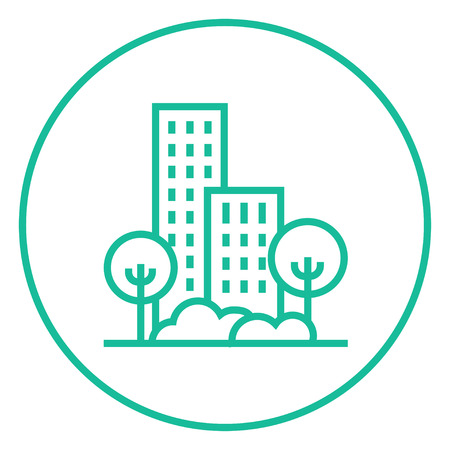 Residential building with trees thick line icon with pointed corners and edges for web, mobile and infographics. Vector isolated icon.