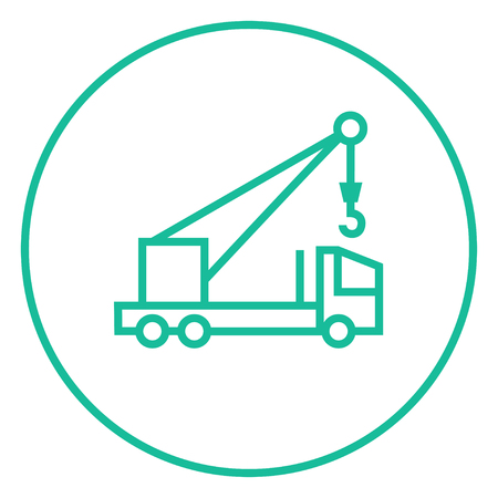 auto hoist: Mobile crane thick line icon with pointed corners and edges for web, mobile and infographics. Vector isolated icon. Illustration