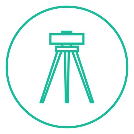 teodolito: Teodolito en el trípode icono de línea gruesa con esquinas puntiagudas y bordes para web, móvil y la infografía. aislado vector icono.