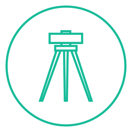 geodesy: Theodolite on tripod thick line icon with pointed corners and edges for web, mobile and infographics. Vector isolated icon. Illustration