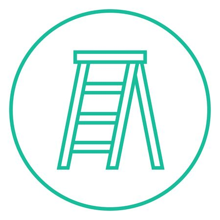 stepladder: Stepladder thick line icon with pointed corners and edges for web, mobile and infographics. Vector isolated icon.