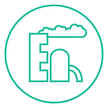 Refinery plant thick line icon with pointed corners and edges for web, mobile and infographics. Vector isolated icon. Stock Illustratie