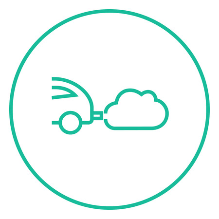 polluting: Car spewing polluting exhaust thick line icon with pointed corners and edges for web, mobile and infographics. Vector isolated icon.