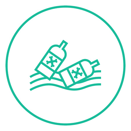 Bottles floating in the water thick line icon with pointed corners and edges for web, mobile and infographics. Vector isolated icon. Illustration