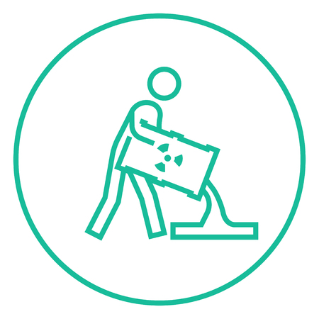 ionizing radiation: A man pouring the liquid from the barrel with ionizing radiation sign thick line icon with pointed corners and edges for web, mobile and infographics. Vector isolated icon. Illustration