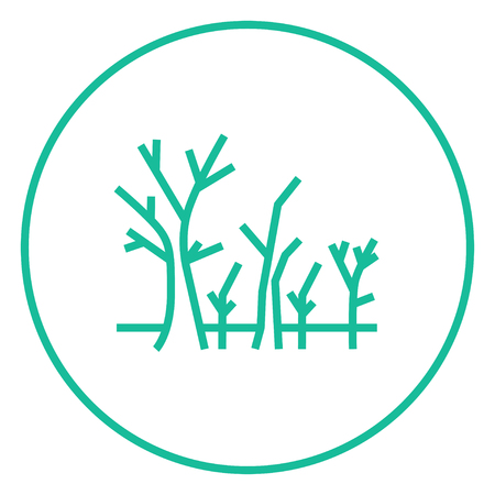 nude outdoors: Tree with bare branches thick line icon with pointed corners and edges for web, mobile and infographics. Vector isolated icon. Illustration