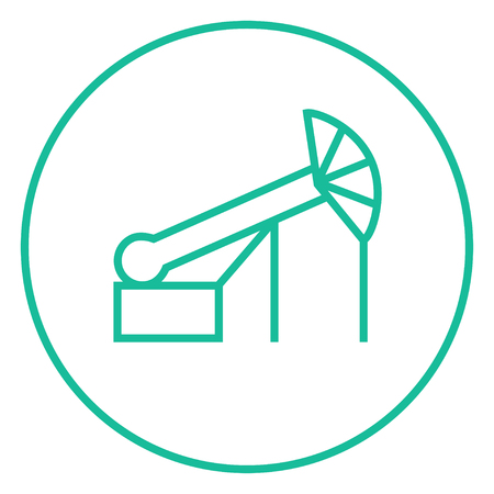nonrenewable: Pump jack oil crane thick line icon with pointed corners and edges for web, mobile and infographics. Vector isolated icon.