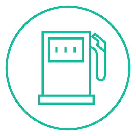 fillup: Gas station thick line icon with pointed corners and edges for web, mobile and infographics. Vector isolated icon. Illustration