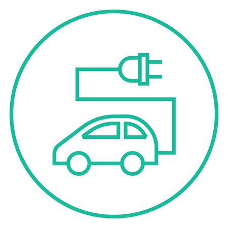 power cables: Electric car thick line icon with pointed corners and edges for web, mobile and infographics. Vector isolated icon.