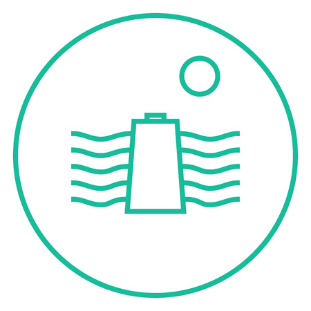 hydro electric: Sun and water waves with battery thick line icon with pointed corners and edges for web, mobile and infographics. Vector isolated icon. Illustration