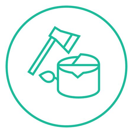 ecological damage: Deforestation thick line icon with pointed corners and edges for web, mobile and infographics. Vector isolated icon.