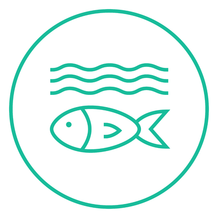 hand line fishing: Fish under water thick line icon with pointed corners and edges for web, mobile and infographics. Vector isolated icon.