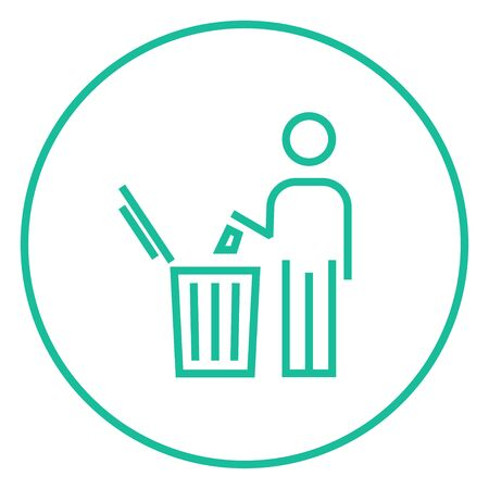 garbage man: Man throwing garbage in a bin thick line icon with pointed corners and edges for web, mobile and infographics. Vector isolated icon.