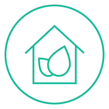 Eco-friendly house thick line icon with pointed corners and edges for web, mobile and infographics. Vector isolated icon.