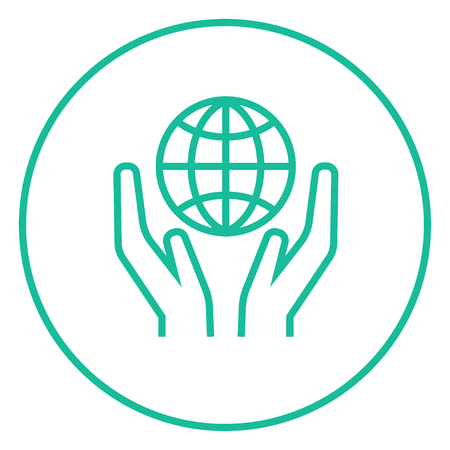 Two hands holding globe thick line icon with pointed corners and edges for web, mobile and infographics. Vector isolated icon. Illusztráció