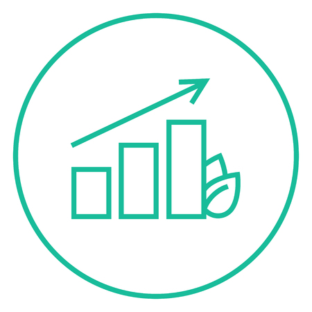 Bar graph with leaf thick line icon with pointed corners and edges for web, mobile and infographics. Vector isolated icon.