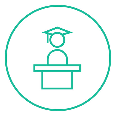 tribune: Graduate standing near tribune thick line icon with pointed corners and edges for web, mobile and infographics. Vector isolated icon.