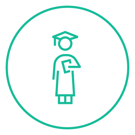 hold high: Graduate thick line icon with pointed corners and edges for web, mobile and infographics. Vector isolated icon.