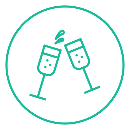 champaign: Two glasses of champaign thick line icon with pointed corners and edges for web, mobile and infographics. Vector isolated icon.