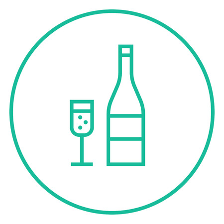 Bottle of champaign and glass thick line icon with pointed corners and edges for web, mobile and infographics. Vector isolated icon. Illustration