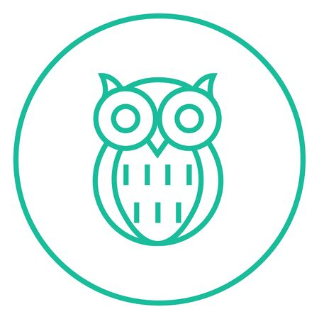 scholar: Owl thick line icon with pointed corners and edges for web, mobile and infographics. Vector isolated icon. Illustration