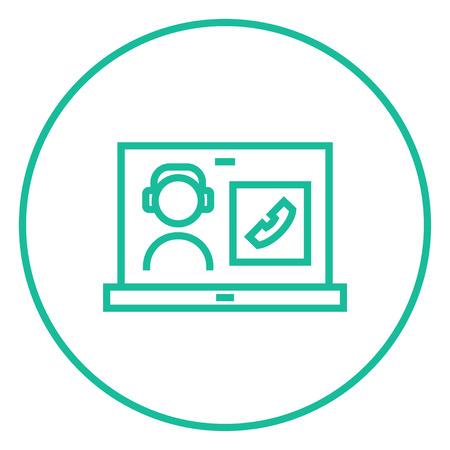 reciever: Laptop with a man in headphones on a screen thick line icon with pointed corners and edges for web, mobile and infographics. Vector isolated icon.