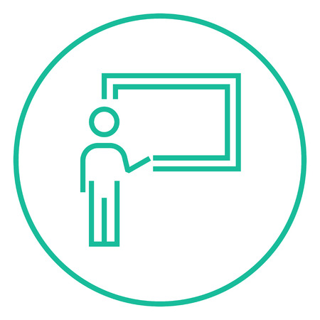 Professor pointing at blackboard thick line icon with pointed corners and edges for web, mobile and infographics. Vector isolated icon.