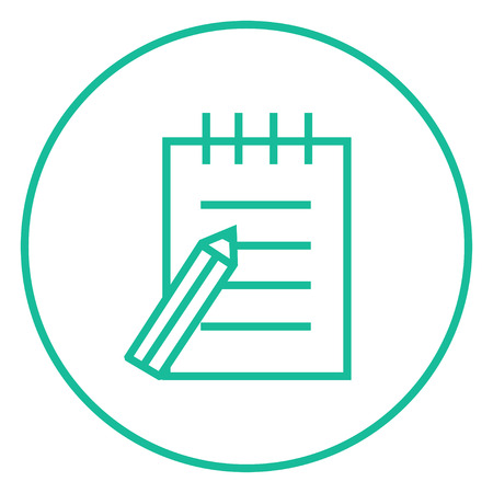 writing pad: Writing pad and pen thick line icon with pointed corners and edges for web, mobile and infographics. Vector isolated icon. Illustration