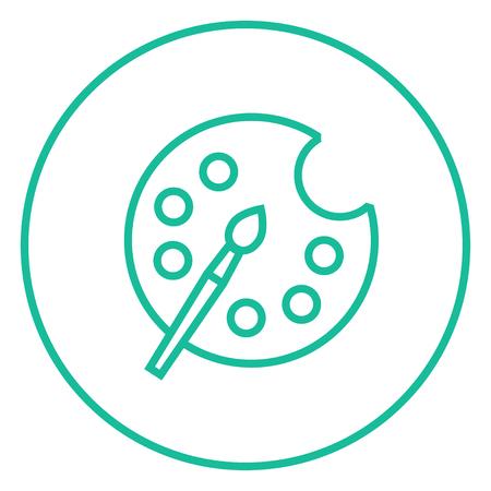 brocha de pintura: Cepillo de pintura con icono de la paleta gruesa línea con esquinas puntiagudas y bordes para web, móvil y la infografía. aislado vector icono. Vectores