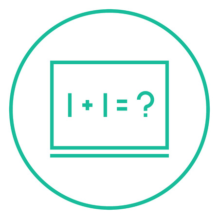 mathematical operation: Maths example written on blackboard thick line icon with pointed corners and edges for web, mobile and infographics. Vector isolated icon. Illustration