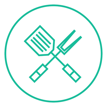 Crossed kitchen spatula and big fork thick line icon with pointed corners and edges for web, mobile and infographics. Vector isolated icon. 向量圖像