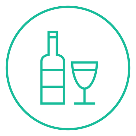 scotch whisky: Bottle of wine thick line icon with pointed corners and edges for web, mobile and infographics. Vector isolated icon.