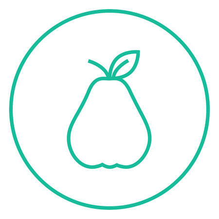ripened: Pear thick line icon with pointed corners and edges for web, mobile and infographics. Vector isolated icon.