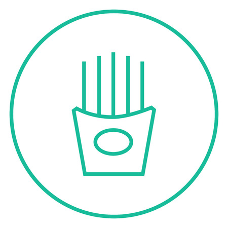 French fries thick line icon with pointed corners and edges for web, mobile and infographics. Vector isolated icon. Ilustracja