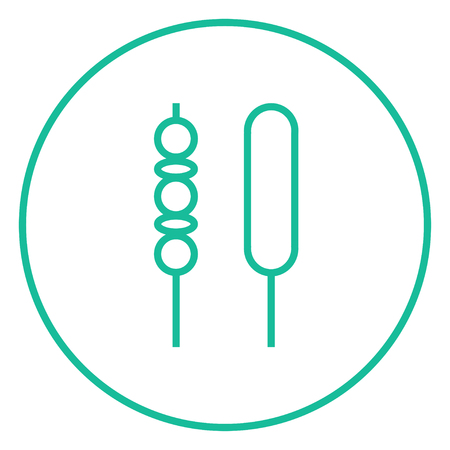 Shish kebab thick line icon with pointed corners and edges for web, mobile and infographics. Vector isolated icon. Ilustração
