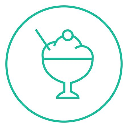 Ice cream in a cup thick line icon with pointed corners and edges for web, mobile and infographics. Vector isolated icon. Stok Fotoğraf - 55170786